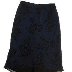 Express Black & Blue Floral Midi Skirt/Slip [CG]